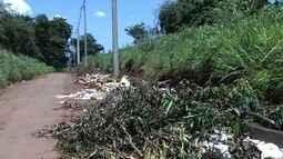 População denuncia entulho e lixo jogado em rua do Setor Recanto dos Ipês, em Goiânia