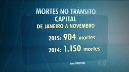 Número de mortes no trânsito da capital cai 20% de janeiro a novembro de 2015