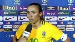 Marta diz que o time cresceu no decorrer da partida e achou um bom teste para a olimpíada