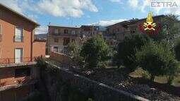 Imagens aéreas revelam a destruição na Itália após terremoto