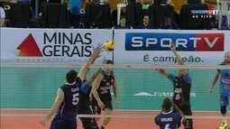 Os pontos finais de Bolívar 3 x 1 Minas pelo Mundial de Clubes de vôlei masculino