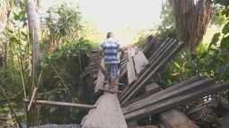 Ponte quebrada causa transtornos para moradores do Murupu, interior de Roraima