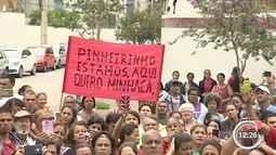 Ex moradores do Pinheirinho fizeram um protesto nesta sexta-feira