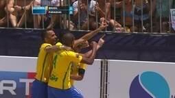 Os gols de Brasil 12 x 2 Paraguai pela decisão da Copa América de futebol de areia
