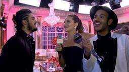 Luan Santana e Camila Queiroz fazem dueto nos bastidores do 'Melhores do Ano'