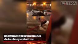 Restaurante procura mulher de tombo que viralizou