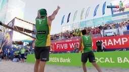 Os pontos finais de Evandro/Andre 0 x 2 Álvaro/Saymon pelo ouro no vôlei de praia