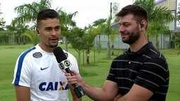 Léo Santos, zagueiro do Corinthians, fala sobre primeiro gol como profissional