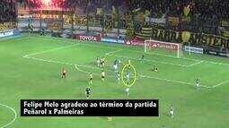 Palmeiras divulga vídeo de Felipe Melo para mostrar que jogador não provocou uruguaios