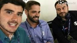 Equipe de reportagem da Globo se prepara para a transmissão da final da Liga dos Campeões