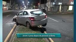 Jovem é presa após causar acidente em Ponta Grossa