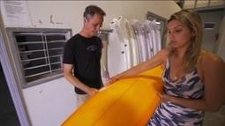 Califórnia Onboard: Maya Gabeira visita fábrica de pranchas em San Diego