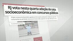 G1 no Bom Dia Rio: RJ vota nesta quarta adoção de cota socioeconômica em concursos