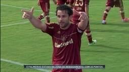 No Brasileiro de 2012, campeão Fluminense vence o rebaixado Palmeiras