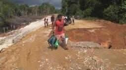 Estrada de São Gabriel da Cachoeira, no AM, é danificada durante chuva