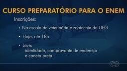 Termina prazo para inscrição em cursinho preparatório para o Enem da UFG