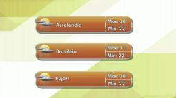 Confira a previsão do tempo para esta quinta-feira(22) no Acre