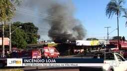 Incêndio destrói loja de pneus, em Goiânia