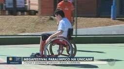 Crianças e adolescentes praticam modalidades no 'Megafestival Paralímpico' na Unicamp