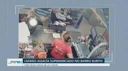 Vídeo flagra homem roubando caixa de supermercado em Boa Vista