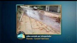 VC no MG: moradores reclamam de vazamento no Bairro Floresta em Coronel Fabriciano