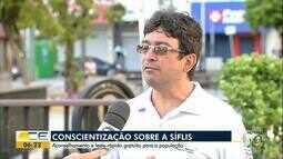 Campanha busca conscientizar sobre a sífilis, em Fortaleza