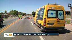 Motociclista morre e motorista é lançado para fora de carro em dois acidentes na BR-101