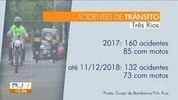 Maioria dos acidentes de trânsito em Três Rios envolvem motociclistas