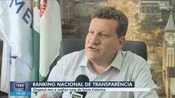 Chapecó lidera ranking de transparência entre municípios de SC