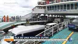 Filas no ferry boat: motoristas esperam por horas nos terminais de Salvador e Itaparica