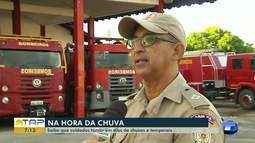 Corpo Bombeiros orienta sobre cuidados para evitar incidentes durante a chuva