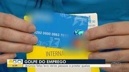 Criminosos aplicam golpe com falsa oferta de emprego, em Goiânia