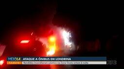 Bandidos ateiam fogo em ônibus em Londrina