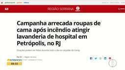 Campanha de doação para Sanatório que pegou fogo em Petrópolis é destaque no G1