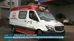 Homem é detido após quebrar ambulância