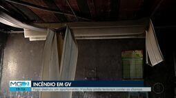 Corpo de Bombeiros combate incêndio em apartamento em Governador Valadares
