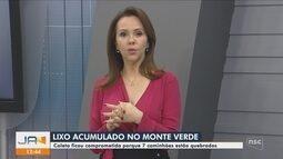 Lixo fica acumulado no bairro Monte Verde, em Florianópolis, após 7 caminhões quebrarem