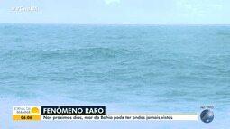 Surfistas se preparam para pegar ondas gigantes na baía de Todos-os-Santos
