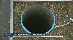 Homem fica ferido ao cair em buraco em faixa de pedestres em Ribeirão Preto