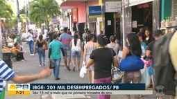 IBGE: 201 mil desempregados na Paraíba