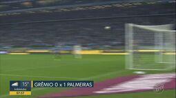 Gol de Gustavo Scarpa dá vitória ao Palmeiras sobre o Grêmio, em Porto Alegre