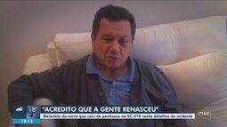Motorista de carro que despencou em ribanceira na Serra Dona Francisca relata drama