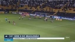 Criciúma perde para o Atlético-GO e segue no Z-4; Chape pega o Inter neste domingo (22)
