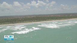 Órgãos ambientais sobrevoam áreas atingidas por óleo no litoral de Alagoas