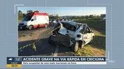 Acidente na Via Rápida deixa dois homens mortos em Criciúma