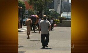 Homem sem roupa é flagrado em plena Avenida Paulista