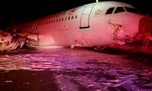 Avião derrapa em trem de pouso no Canadá