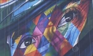 Muralista conversou com a família de Senna para pintar retrato em SP