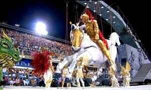 Estácio de Sá abriu o desfile do Grupo Especial no Rio com homenagem a São Jorge