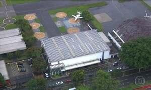 Agentes da PF recolhem gravações de imagens do hangar do bimotor